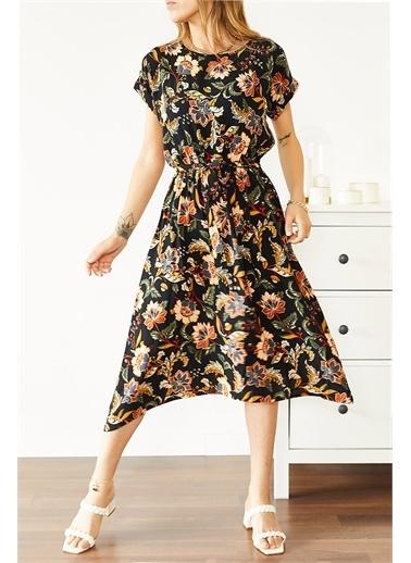 XHAN Multi Beli Lastikli Asimetrik Çiçek Desenli Elbise 0Yxk6-43871-02 Renkli